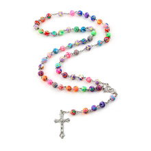 8mm Colorful Polymer Clay Bead Rosary Pendant Necklace Alloy Cross Virgin Mary Centrepieces Christian Catholic Religious Jewelry(China)