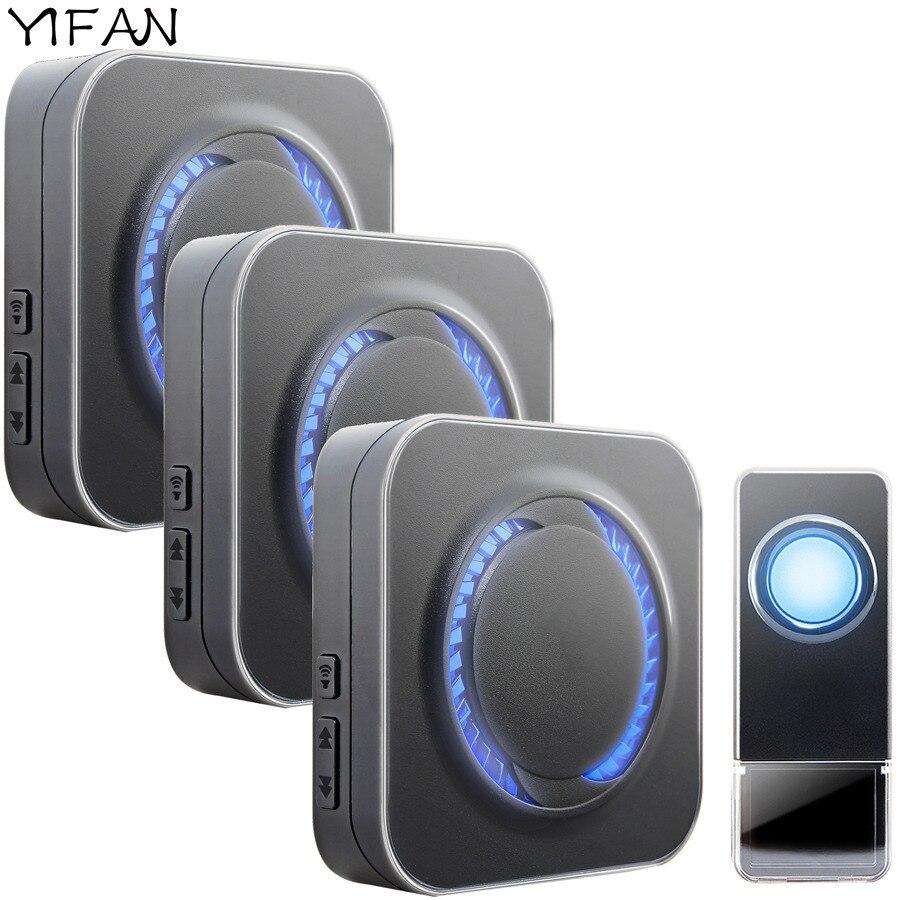 YIFAN Waterproof Wireless Doorbell EU Plug 300M long range smart Door Bell Chime ring 1 button 3 receiver Deaf LED light<br>