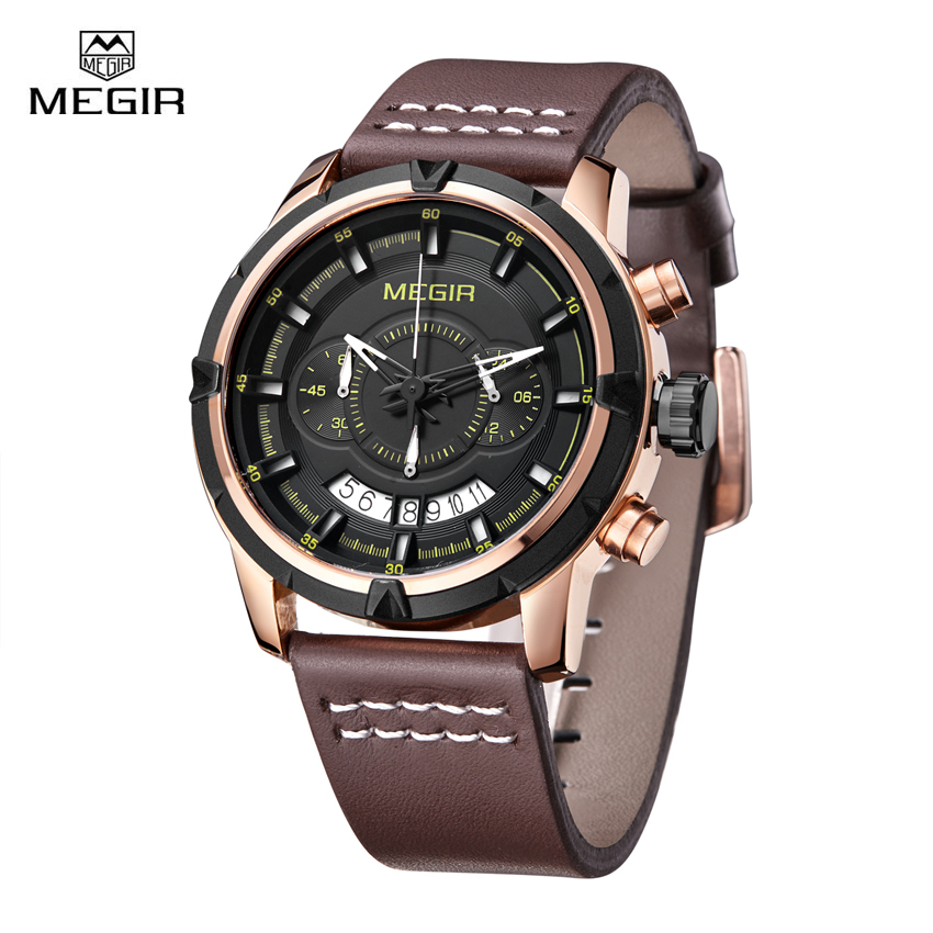 Megir Luxury Quartz Watch Men Famous Brand Chronograph Sport Watches Gold Color Waterproof Army Military Wristwatch Clock<br>