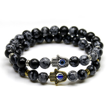 2017 New Products 8mm Black Snowflake Stone Beads Buddha Palm Hand Bracelet, Yoga Meditation Energy Jewelry For Women and Men(China)