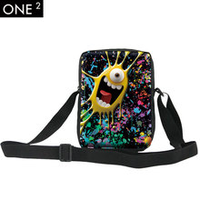 ONE2 New Fashion 2015 Cartoon Colorful Crossbody bag with Zipper Boy Cool Kids/Child Schoolbag for Kid Printing Messenger Bag(China)