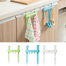 1Set Multifunctional Organizer Adjustable Hanging Rack Cabinet Towel Hooks Practical Cupboard Hanger Kitchen Accessories(China)