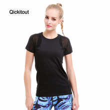 Qickitout Top Summer Black Women Tops Punk Rock Grid Breathable Fitness Tee Shirt Femme Casual tshirt O-neck Tumblr S-XL(China)