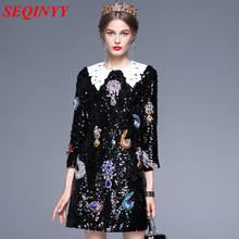Pre-Sale Vintage Luxury Dress 2017 Autumn High End Black 3/4 Sleeve Peter Pan Collar Diamonds Sequins Women New Sexy Mini Dress