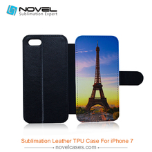 Heat transfer 2D sublimation leather wallet tpu phone cover case for iPhone7(China)