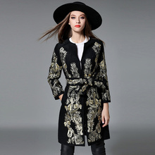 2017 autumn and winter women fashion embroidery Slim jacket Long sleeves Belt print coat outerwear high quality lady jacket