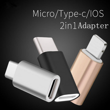 Buy 2 1 Adapter Type C Male Connector Micro USB Female Converter Adapter IOS Micro USB Adapter iphone LG Sony O3 for $1.00 in AliExpress store
