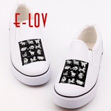 E-LOV Funny Printed Chinese 12 Symbolic Animals Canvas Shoes Hip Hop Casual Loafers Print Chinese Zodiac Slip-on Shoes For Lover(China)