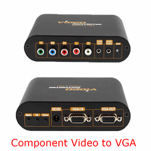Quality YPbPr 5RCA Component to VGA monitor Video Audio Converter for PS3 PS2 Xbo 360 Wii PSP HD Box