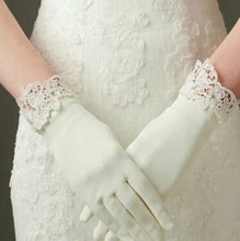 Ivory Vintage Bridal Gloves Lace Beaded Wrist Length Short Wedding Gloves For Ladies Finger Satin Women Wedding Accessories