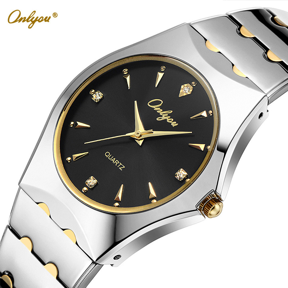 Onlyou Top Luxury Brand Silver Watches For Men Business Stainless Steel Quartz Watch Fashion Dress Watch Male Black Clock 8677<br>