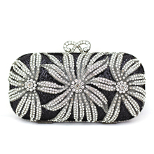 Buy Crystal Evening Clutch Bags for Weddings Small Black Rhinestone Clutch Evening Bag Floral Patterns Designer Purse with Strap