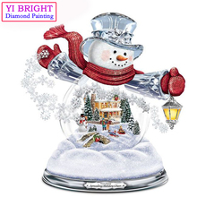 "5D Diy diamond painting kit ""Snowman Light Christmas"" 3D cross stitch Full Round Diamond embroidery Diamond Mosaic Wall Decor(China)"