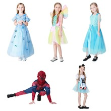 Sale Beautiful Kids Halloween Costume Cosplay Costume Princess Dress Girls Boys Spider Man Disfraces Rainbow Fairy 21BY178151(China)
