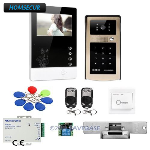HOMSECUR 4.3inch Wired Video Door Phone Intercom System Strike Lock Set Included For Multi-method Unlocking(China (Mainland))