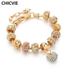 CHICVIE Gifts Gold color Crystal Heart Charm Bracelets & Bangles for Women Trendy Bracelet Femme Jewelry Sbr160056