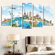 5 free euramerican style building large picture printed on the canvas in contemporary family adornment art of sitting room wall(China)
