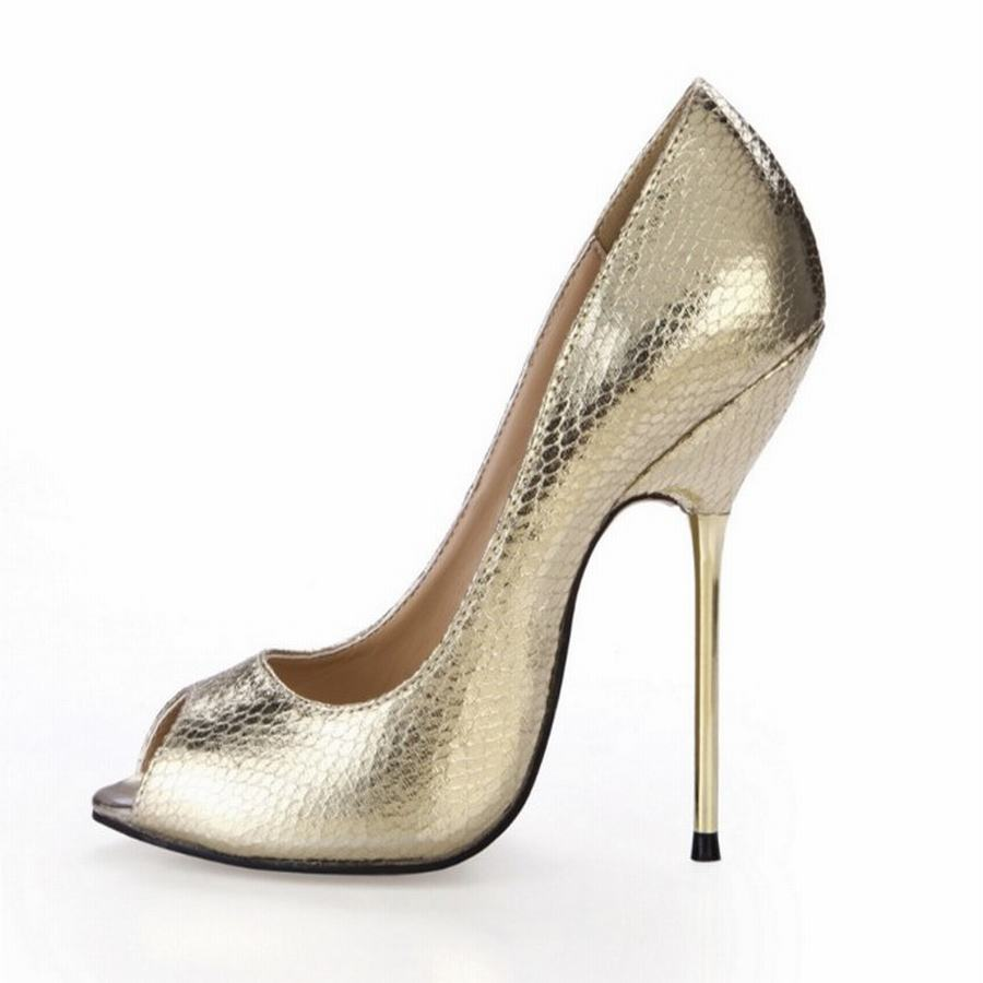 hot big size 35-43 women sexy open toe high heels shoes fashion matel stiletto heeled ladies 2017 sequins fashion peep toe pumps<br>