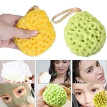 2PCS Natural Soft Bath Scrubber Shower Spa Sponge Bath Body Shower Cleaning Scrub green+yellow 5U1213(China)