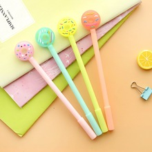 10 pcs / lot Cute cartoon donuts gel pen 0.5 mm creative pen blackink  carbon  South Korea stationery