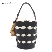 beach bag bucket bags bao bao with tassels women summer white totes bag 2017 new japan korean style black brown color