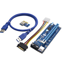 2017 new VER006 100cm PCI Express PCI-E 1X to 16X Riser Card Extender + USB 3.0 Cable / 15Pin SATA to 4Pin IDE Molex Power Wire