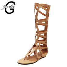 Women's Fashion Brand Hot Sale Zipper Open Toe Knee High Tall Lace Up Cut Out Roman Gladiator Flat Heel Sandals Sexy Summer Shoe