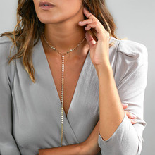 Delicate Gold/Silver Color Clavicle Chain Long Necklace Women Sequins Wafer Necklace Tip Pendant Handmade Body Jewellery