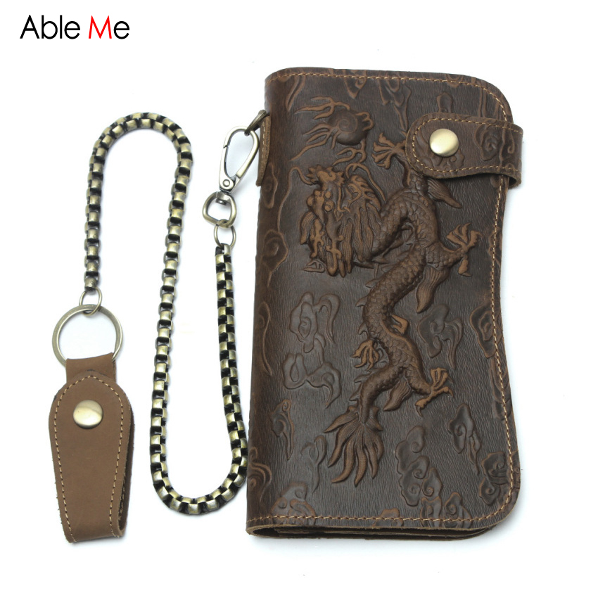 AbleMe Retro Men WAallets Crazy Horse Leather 3D Animal Dragon Print Male Clutch Purses Hasp Card Key Holder Long Wallets Men<br>