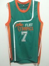 SexeMara Flint Tropics Semi Pro Movie Throwback Basketball Jerseys,#7 Coffee Green Stitched Movie  jersey Free Shipping