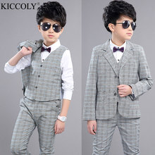 Boys Blazer Kids Wedding Clothes 2017 New Elegant Suits Children For Wedding Boy Suits Jacket Pants Vest 3pcs/set Kids Blazers
