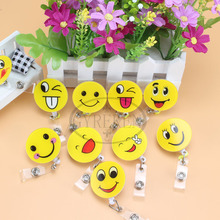 1psc Smiling Face High Quality Retractable Pull Badge Reel ID Card Clip ID Badge Lanyard Name Tag Card For School Office Company(China)
