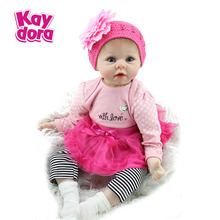 "55cm Realistic Doll Reborn Babies Handmade Baby Silicone Dolls Girl Gift Toys For Kids 22"" Soft Dolls with Pink Dress Set"