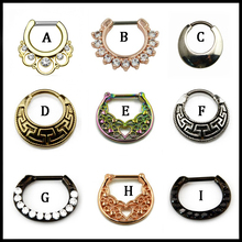 1PC Brass With CZ Gem Nose Piercing Clicker Rings Mixed Colors Nose Stud Septum Sexy Charming Fashion Body Jewelry 16g(China)