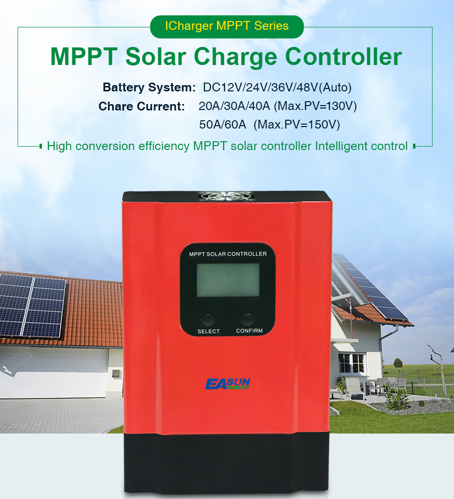 EASUN POWER MPPT Solar Controller 40A 60A 48V36V Solar Charger 24V12V Battery Charge Max 150VDC Input Auto Back-light LCD_01