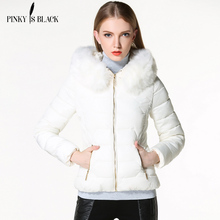 Pinky Is Black 2017 Autumn Winter Jacket Women Coat Parka Fur Collar Women Down Cotton-padded Jacket Coat Candy Colors Outwear