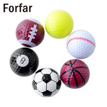 Forfar Set 6PCs Novelty Assorted Creative Champion Sports Golf Double Balls Joke Fathers Day Best Present Rubber