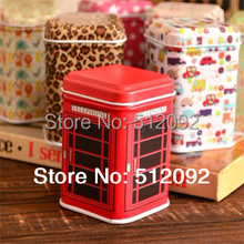 Mini vintage tea tins caddy toothpick box usb flash drive box small stamp metal box square tin storage box(China)