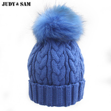 Newly Stylish Multi Colors Hat in Winter for Women Warm Apparel Accessories Skullies Beanies with 100% Real Fur Pom Poms