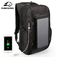 "Kingsons 15.6"" Laptop Backpack External USB Charge Computer Backpacks Anti-theft Bags with Solar Panels for Men Women KS3140W(China)"
