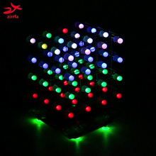 zirrfa Newest 3D 4X4X4 RGB cubeeds Full Color LED Light display Electronic DIY Kit /Junior 4*4*4 support Audrio high quality(China)