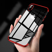 TPU Slim Transparent Phone Cover For iPhone 7 6 6s 8 Plus Case Luxury Shockproof Plating Phone Case For iPhone X 6 7 8 Case(China)