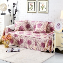 SunnyRain Cotton Canvas Pastoral I Shaped Sofa Cover Sectional Sofa Covers Slipcover Couch Cover Table Cloth Machine Washable