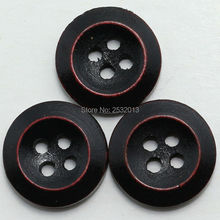 Free Shipping 100 pcs Black Polish Bevel Edge Wooden Buttons 4 Holes 15mm Sewing Scrapbooking Crafts Handmade Wood Button