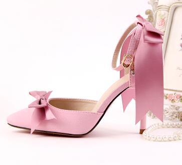 9CM heeled pink white red satin pumps shoes woman TG613 party shoes thin heel point toes sexy satin bow wedding shoe ankle strap<br><br>Aliexpress