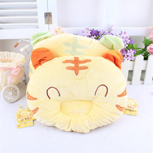25x20cm Yellow Tiger Design Crystal Fabric Confortable Infant Shaping Anti Rollover Safe Pillow Todller(China)