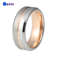 Very Nice New Two Tone Rose Gold Tungsten Wedding Band With Half Brush and Half Polished finish(China)