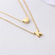 10pcs/lot Personalized Sweet Love letter With Heart necklace Jewelry-Two layer Tiny Initial letter Necklace-Gift Idea