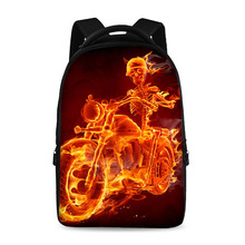 17 inch flame skull pattern cool school backpack boys and girls laptop bag can store 15 inch computer