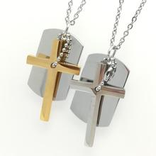Fashion Men Jewelry Army Style Cross Dog Tag Pendant Mens Necklace Gold Steel Color with Link Chain 2 Styles Selectable(China)